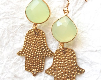 ZL041715 Lucky Day Chalcedony Gold Bezel  and Hamsa Charm Zen Earrings