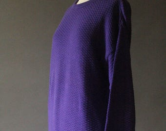 Vintage 90's Bright Purple Knit Pullover Sweater