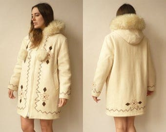 Vintage Canadian Wool Eskimo Parka Hooded Coat With Fake Fur Trim & Embroidery