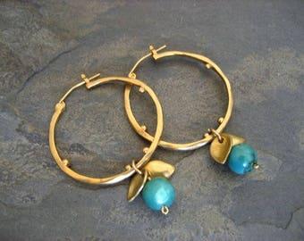 Turquoise hoops, dangle hoops, turquoise drop, leaves hoops, gold hoops, circle earrings, dotted hoops
