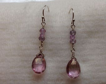 Mystic Pink Quartz Briolette and Pink Roundelles Sterling Silver Earrings