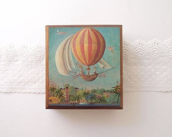 Annabella Cedar Box 19th Century print Hot Air Balloon trinket jewelry catch-all container handmade in Jamaica 1980s