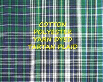 1 YARD, Green Blue White, Yarn Dyed Tartan Plaid, Summer Shirting, Fashion Fabric, Lightweight Cotton Polyester, B15