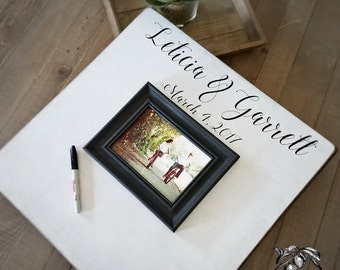 Wedding Guest Book, Rustic Guest Book, 20x20 The Sugared Plums Frames