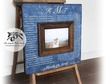 Anniversary Gift, Vow Art, Framed Wedding Vows, Wedding Vow Keepsake, Gift for Groom, Gift for Bride, 5th Anniversary Gift, 16x16