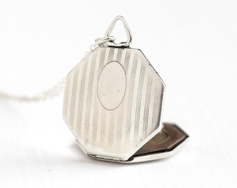 Antique Art Deco Sterling Silver Octagonal Locket - Vintage 1920s Linear Etched Large Statement Flapper Era Photograph Jewelry