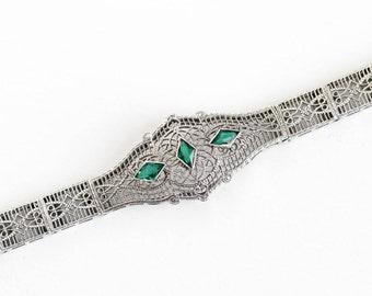 Sale - Antique 10k White Gold Simulated Emerald Filigree Panel Line Bracelet - Vintage 1920s Art Deco Green Glass Flower Heart Fine Jewelry