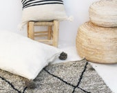 Moroccan POM POM pillow cover - wool natural undyed with black stripes