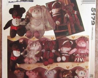 Vintage 1990s 21 inch Stuffed Bears McCalls Crafts Pattern 5172 UNCUT
