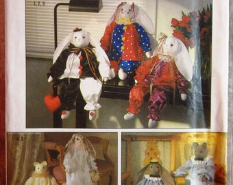 Vintage 1980s Decorative Bunny and Cat Dolls with Clothes Simplicity Crafts Pattern 9336 UNCUT