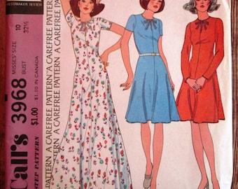 Vintage 1970s Misses Pullover Dress (for unbonded stretch knits) Size 10 McCalls Pattern 3968 UNCUT