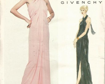 1970s Givenchy Evening Dress Very Easy to Sew Halter Neck For Knits Only Vogue 2014 Uncut Size 14 Bust 36 Women's Vintage Sewing Patterns