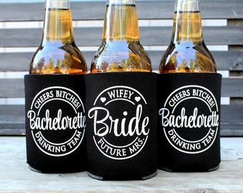 Cheers Bitches, Future Mrs. Bachelorette Drinking Team, Bachelorette Party Favors, with matching Bride cooler, Black