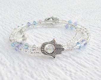 Crystal Glasses Chain Pastel, Hamsa Hand Eyeglass Necklace Holder, Swarovski Crystal Eyeglass Chain Purple Blue Pink, Silver Lanyard Pastel
