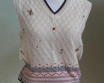 "Vintage Leon Levin Oatmeal Colored Sleeveless Golf Sweater Vest Bust 36"" Waist 28-32"""