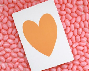 Card with a melon orange heart // anniversary card // generic card // card for any occasion // heart cards // cards with a heart // orange