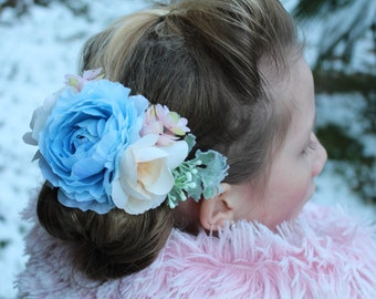 Blue flower clip,bridal hair clip,blush clip,vintage flower clip,  ready to ship, Bridal headpiece, vintage blue bridal clip, something blue