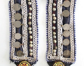 Navy BLUE Kuchi Afghan vintage coin belt Authentic nomad handmade Obi belt Belly dancer statement jewelry Tribal Ethnic treasure by Inali