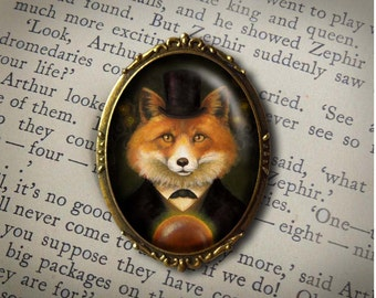 Victorian Fox Brooch, Fox Pin, Fox Brooch, Fox Portrait, Oval Brooch, Gothic, Steampunk, Halloween, Spiritualist Fox, Fox Lover