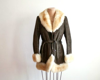 Brown Suede Leather Sheepskin Coat