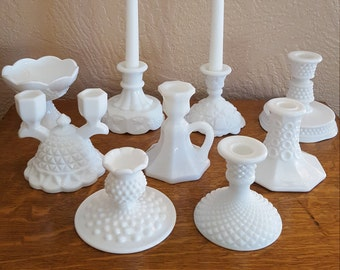 9 Milk Glass Candle Holders - Wedding Decor _ Instant Collection - Oak Hill Vintage