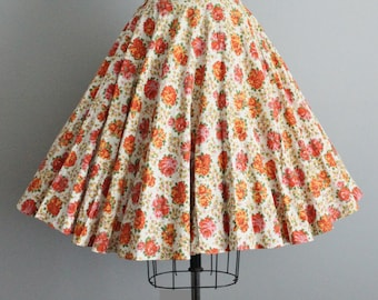 50's Floral Skirt // Vintage 1950's Vibrant Floral Rose Print Cotton Full Circle Skirt XS