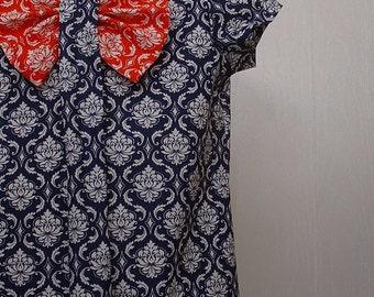 Girls Clothing,Girls Bow Dress, Girls School Dress ,Girls Portrait Dress, Girls Blue  Dress Sizes 5  & 6 only