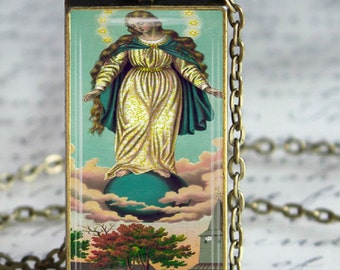 Queen of Heaven Necklace Religious Virgin Mary Art  Glass Tile Pendant Jewelry