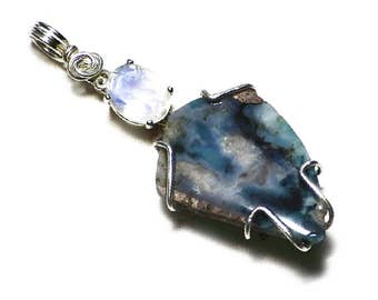 Needles Blue Agate Pendant in Sterling Silver Rare California Blue Agate in Matrix, Cali Gemstone, Gift For Him, Genuine Agate Jewelry Gift