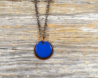 Recaimed Copper and Layered Enameled Disc Necklace - Reclamied Copper and Fire Torch Enamel Bright Blue Layered Disc Necklace