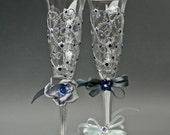 Champagne Flutes, Wedding Glasses, Heart glasses, Silver Blue Glasses, Hand Painted, Set of 2