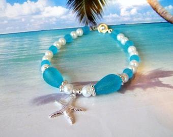 White pearl starfish aqua seaglass beads beach bracelet tumbled glass charm bracelet coastal jewelry