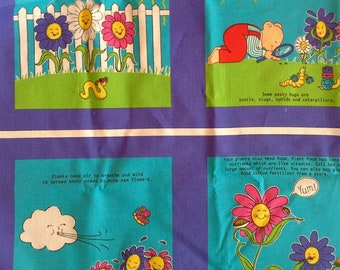 "Soft Childrens Book Fabric Panel ""How Does My Garden Grow"" X0806"