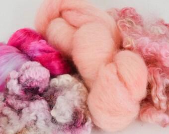 Spinning Felting Fleece Fiber Medley BFL, Wensleydale Locks, ShetlandXWensleydale Lamb Locks, Bamboo 2.1 Ounces Colorway- MiaFluff