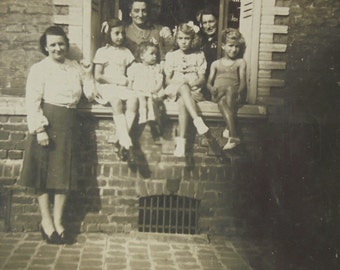 French Vintage Photo - Group of Adults & Children at a House Window