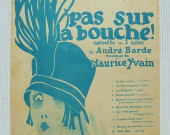 French 1920's Song / Sheet Music - 'Pas Sur La Bouche' (Not On The Mouth)