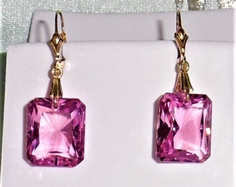 Natural 36cts Emerald cut Pink Topaz gemstones, 14kt yellow gold Leverback Earrings