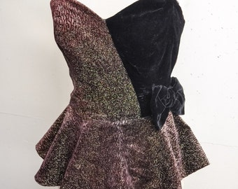 1980s Lurex velvet strapless peplum evening top / 80s does 50s black & bronze boned party top - S