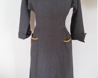 Vintage 1940s  40s grey wiggle dress sz m vlv pin up