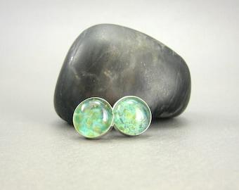 Spring Green Lampwork Glass Earring Studs - Sterling Silver 10mm