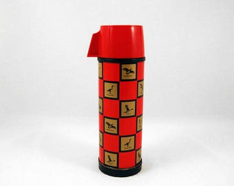 Vintage Red & Gold Checkered Thermos w/ Various Birds