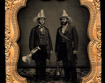 Superb Antique 1850s Ambrotype Photo - New York Firemen (Chiefs?) FDNY