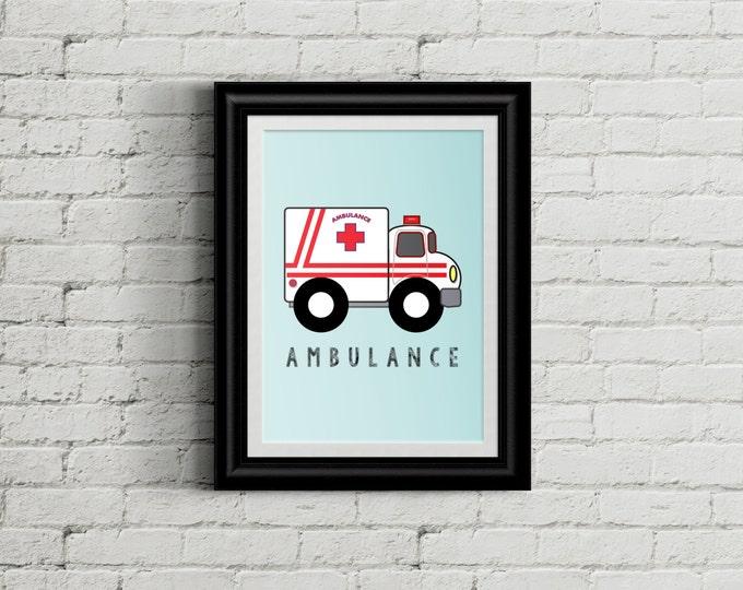 Modern Ambulance Kid's Bedroom Wall Art - EMS Boys Room Decor - Emergency Squad Room Decor - Rescue Vehicle Nursery Decor