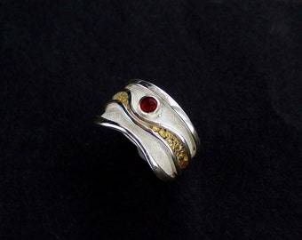 River of Gold Ring - Sterling Silver & Natural Alaskan Gold