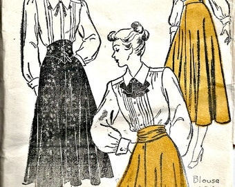 1940's New York Sewing Pattern 246  Circular Skirt with Cumberband or Bow Sash Waist 26