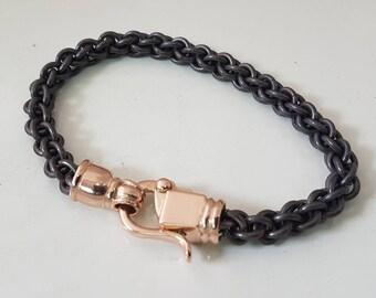 women's TITANIUM BRACELET gold clasps /titanium chain bracelet for women /handmade titanium gold women's bracelet every link/women bracelet
