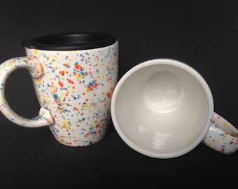 Speckled Ceramic Coffee Mug with Lid - Pottery Mug - White Orange Yellow Blue