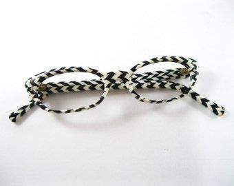 Vintage chevron cat eye glasses. Black and white stripe pattern. Frame France. No lenses. 48-20