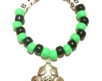 Kandi bracelet- Gas Mask, Biohazard, Rave Kandi, EDC bead bracelet
