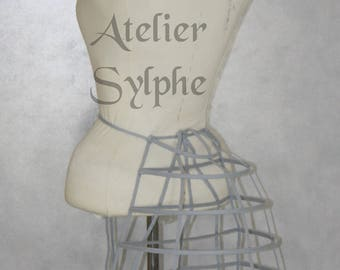 One gray ribbon and lacing Crinoline hoop back long bustle cage pannier